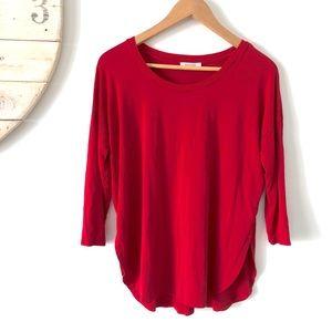 Aritzia | Red Babaton 3/4 Length Long Sleeve Top